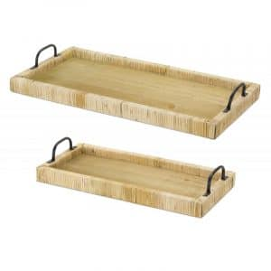 WHITE AND BROWN WOOD TRAY (SET OF 2)