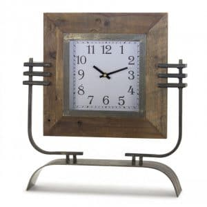 IRON AND WOOD CLOCK ON STAND