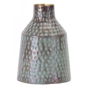 RUSTIC GREEN AND GOLD VASE SET OF TWO