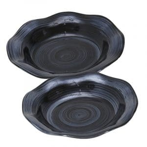 S/2 CERAMIC 17/15″ DECORATIVE PLATES, PEARL BLACK