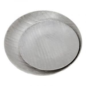 S/2 CERAMIC 19/16″ PLATES W/ SCRATCH FINISH, SILVER