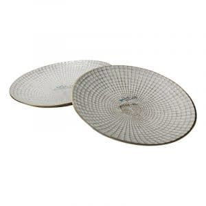 S/2 METAL 10/21″ ROUND PLATES, IVORY/CHAMPAGNE